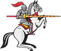 Knight lance steed prancing cartoon style illustration of a in full armor holding riding horse viewed from the side set on white Royalty Free Stock Image