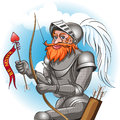Knight in love the armour with bow and arrow ready to send message to his damsel drawn cartoon style Stock Photo