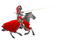 Knight medieval armored armed with pike jousting on the horse on the withe background vector illustration Royalty Free Stock Photo