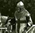 Knight prepares for battle the extreme sport of showing aggression and adrenaline as he to fight Royalty Free Stock Photography