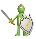 Knight - puppet, holding board Stock Image