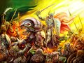 A knight rides a dragon on a crowd of orcs