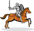 Knight Riding Horse Cartoon Royalty Free Stock Photo