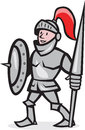 Knight shield holding lance cartoon illustration of in full armor with and facing front standing on isolated white background done Stock Photography