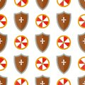 Knight shield medieval weapons heraldic knightly medieval kingdom gear seamless pattern background vector illustration. Royalty Free Stock Photo
