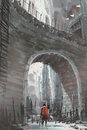 Knight standing under the old stone arch bridge