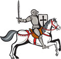 Knight steed wielding sword cartoon style illustration of a wearing armor riding on his horse holding shield and viewed from the Stock Photography