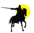 Knight with sword riding on horseback detailed vector silhouette Stock Photos
