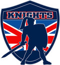 Knight sword shield british flag Royalty Free Stock Photo