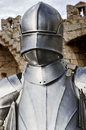 Knight warior from middle ages in front of castle Stock Image