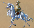 Knight on the white horse illustration of a glorious Stock Images