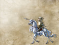 Knight on the white horse vintage background with glorious Royalty Free Stock Photo