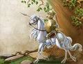 Knight on the white horse vintage background with glorious Stock Images