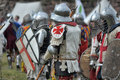 Knights in armor at historical reconstruction vyborg thunder russia Stock Photo