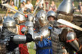 Knights in armor with shields festival early middle ages first capital of russia Royalty Free Stock Photo