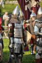 Knights in armor with shields festival early middle ages first capital of russia Stock Photography