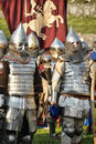 Knights in armor with shields festival early middle ages first capital of russia Royalty Free Stock Images