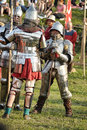 Knights in armor with shields festival early middle ages first capital of russia Stock Photo