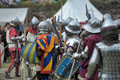 Knights in armor with shields festival early middle ages first capital of russia Royalty Free Stock Image