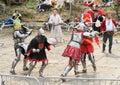 Knights fight in mass brawl Royalty Free Stock Photo