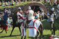 Knights fighting on horseback medieval historical reenactment festival russian fortress priozersk russia Stock Image