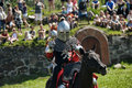 Knights fighting on horseback medieval historical reenactment festival russian fortress priozersk russia Stock Photography