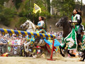 Medieval Knights Horse Riding, Prague Castle Royalty Free Stock Photo