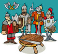 Knights of the round table cartoon Royalty Free Stock Photo