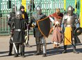 Knights squad russia moscow march in row on history reenactment of the medieval maneuvers in moscow march russia Stock Images