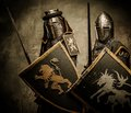 Knights with swords and shields Stock Photos