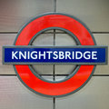 Knightsbridge tube station sign - London Underground roundel Royalty Free Stock Photo