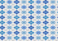 Knit background with blue geometric ornament Stock Photography