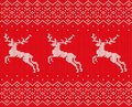 Knit christmas design with deers and ornament. Xmas seamless pattern red background. Knitted winter sweater texture. Royalty Free Stock Photo