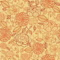 Knit embroidery flowers seamless pattern vector floral line art with on textile textured background Stock Image