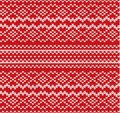 Knit geometric ornament seamless pattern. Handcraft knitwear design. Knitted winter red color sweater texture. Royalty Free Stock Photo