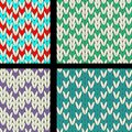 Knit pattern decorative seamless set Royalty Free Stock Photography