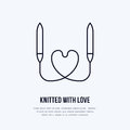 Knit shop line logo. Yarn store flat sign, illustration of circular knitting needles with heart shape