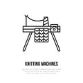 Knit shop line logo. Yarn store flat sign, illustration of knitting machine with yarn pattern