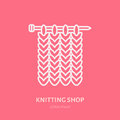 Knit shop line logo. Yarn store flat sign, illustration of knitting needles with yarn pattern