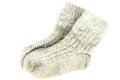 Knit wool socks pair of gray isolated on white Stock Images