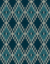Knit woolen seamless jacquard ornament pattern fabric dark blue color tracery background Royalty Free Stock Images