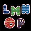 Knitted alphabet - LMNOP Stock Image