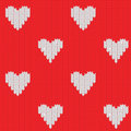 Knitted background with hearts Stock Images