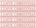 Knitted background i love christmas with text Royalty Free Stock Photos