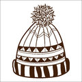 Knitted cap isolated on white sketch vector illustration Royalty Free Stock Photography