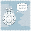 Knitted christmas ball on the abstract background with snowflakes illustration Royalty Free Stock Photography