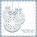 Knitted christmas balls with snowflakes in the ornamental frame illustration Stock Photography