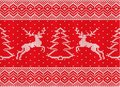 Knitted christmas ornament with deers and christmas tree. Royalty Free Stock Photo