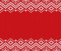 Knitted christmas red and white geometric ornament. Xmas knit winter sweater texture design. Royalty Free Stock Photo