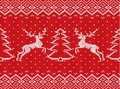Knitted christmas texture with deers, christmas trees and geometric ornament. Xmas seamless pattern. Royalty Free Stock Photo